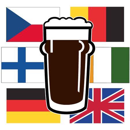 vasos de cerveza: vector diferentes vasos de cerveza en la bandera europea nacional transparente