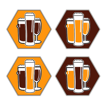 facer: vector set coaster with different beer glasses with dark and light colors