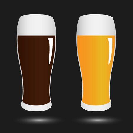 facer: vector set volume glasses with dark and light beer on black background Illustration