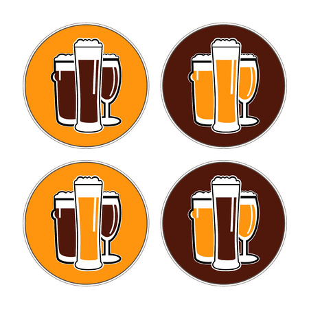 bocal: vector set coaster with different beer glasses with dark and light colors