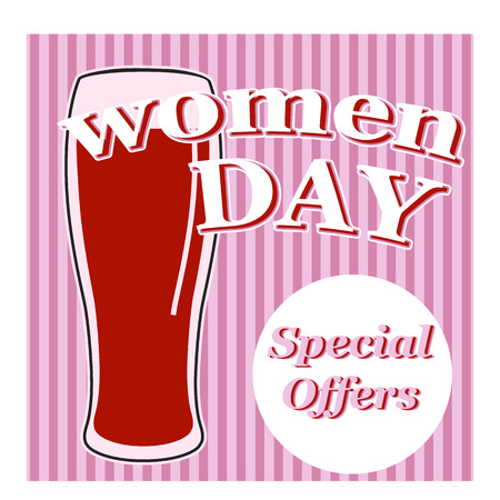vertical lines: vector beer glass with lettering women day on retro background with vertical lines in pink colors Illustration