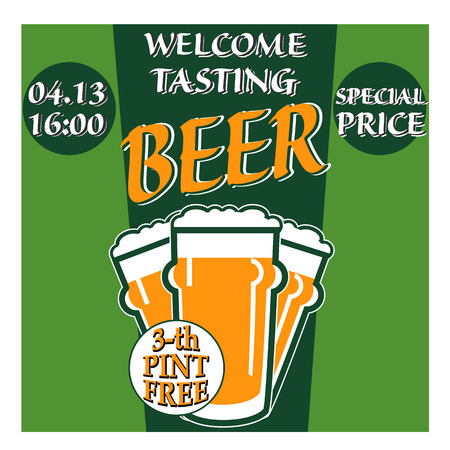 tasting: vector design welcome of beer tasting with glass, information and special offer on two colors background