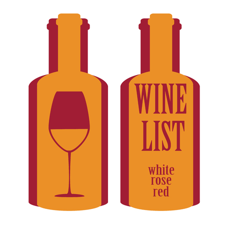 wine list: vector concept design wine list with text on bottle in different contrast colors