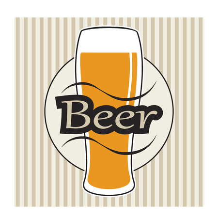 glasse: vector beer glasse with lettering on retro background with vertical lines Illustration
