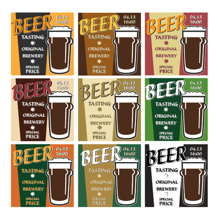 sommelier: vector set design beer tasting with glass, information and special offer on two colors background