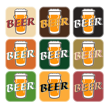 facer: vector set coaster with beer glasses on different colors background