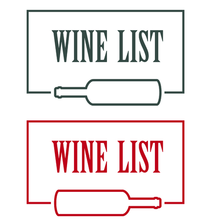 wine list: vector concept design wine list with text on bottle in contrast colors Illustration