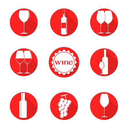 simbols: vector design set simbols for wine with glass, bottle, grape on round background