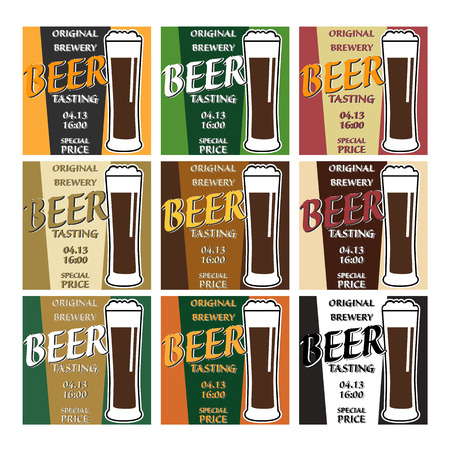 tasting: vector set design beer tasting with glass, information and special offer on two colors background