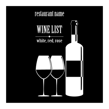 wine list: vector concept design wine list with text, glasses and bottle on black background Illustration