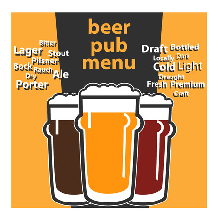 beers: vector design pub beer menu with typing themes about sorts beers