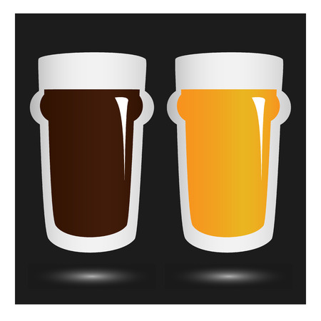 blink: vector volume beer glass with lettering beer menu on background with blur blink