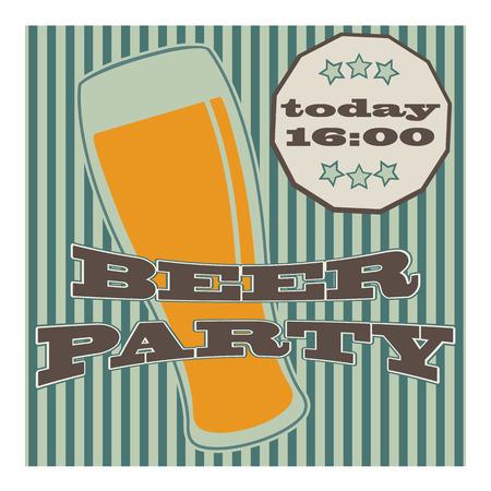 pilsner beer glass: vector beer glasse with lettering on retro background with vertical lines Illustration