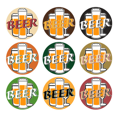 bocal: vector set coaster with beer glasses on different colors background