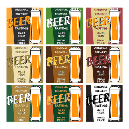 stout: vector set design beer tasting with glass, information and special offer on two colors background