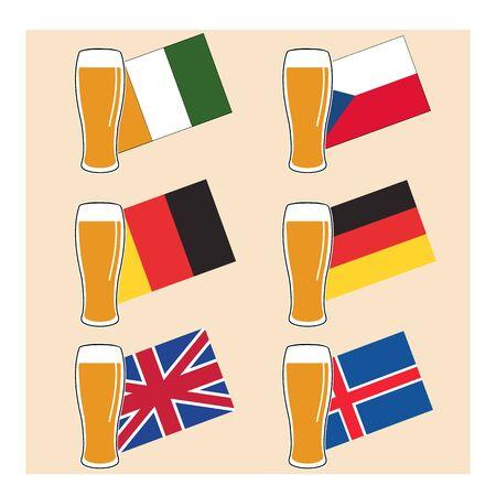 european flags: vector set glass of light beer on national european flags