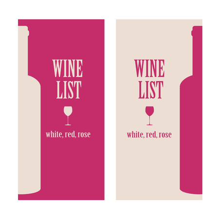 wine list: vector concept design wine list with text, glasses and bottle in red and beige colors Illustration
