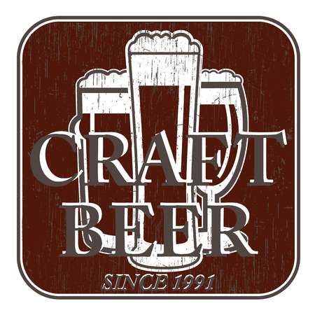facer: vector coaster beer glasses with retro scratch for pub, bar