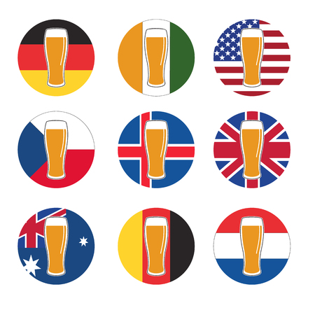 vector set beer glass with beer on background round national flags of world for template, web and print Illustration
