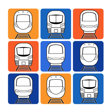 векторный набор силуэт современный экспресс на разных цветов квадратный фон Иллюстрация