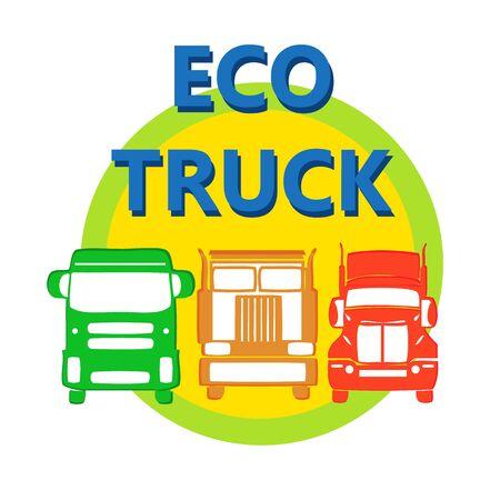 inter: vector illustration design eco car heavy truck in bright colors for automobile business, trade service