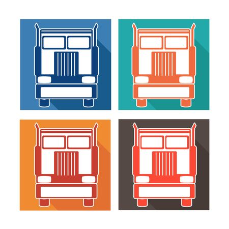heavy set: vector illustration set icons heavy truck automobile service for trade or tire business