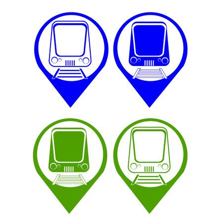 treno espresso: insieme vettoriale silhouette espresso moderno treno sul punto della mappa simbol