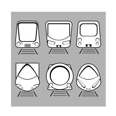 treno espresso: insieme vettoriale silhouette espresso moderno treno su sfondo grigio