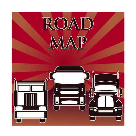 inter: vector three heavy trucks drive on road from sun background Illustration