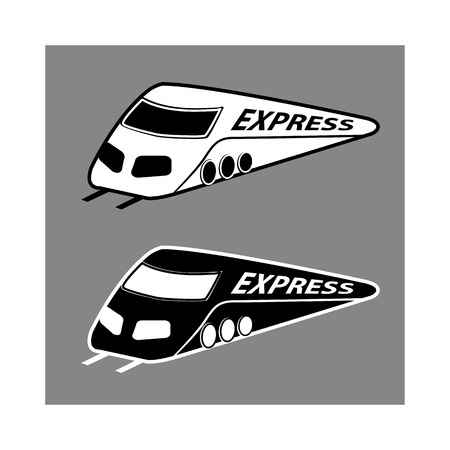 high speed railway: vector silhouette modern express train on gray background