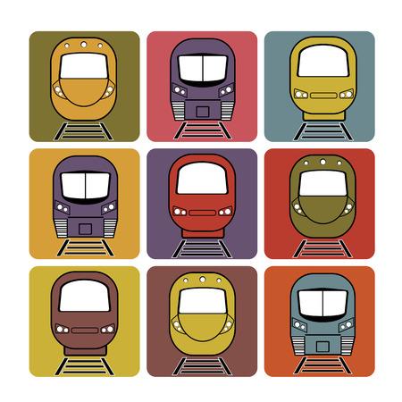 treno espresso: insieme vettoriale silhouette espresso moderno treno in diversi colori di sfondo piazza Vettoriali
