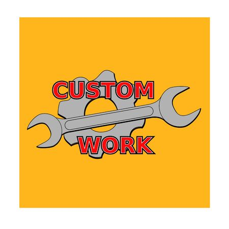 pinion: vector illustration  custom mechanical with wrench and pinion