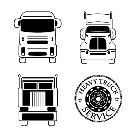 inter: vector illustration set icons heavy truck automobile service for trade or tire business