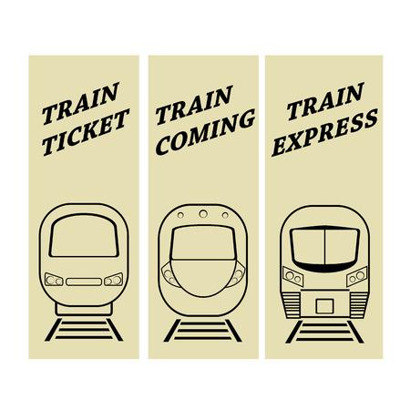 express: vector illustration set silhouette modern express train Illustration