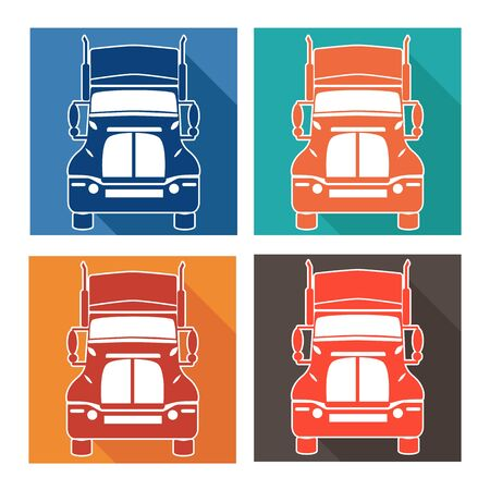 breakdown truck: vector illustration set icons heavy truck automobile service for trade or tire business