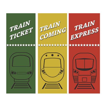 treno espresso: insieme vettoriale silhouette davanti treno moderno con testo e le stelle su colori di sfondo