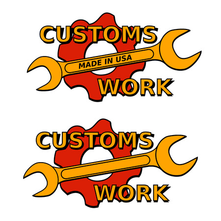 pinion: vector illustration logo custom mechanical with wrench and pinion Illustration