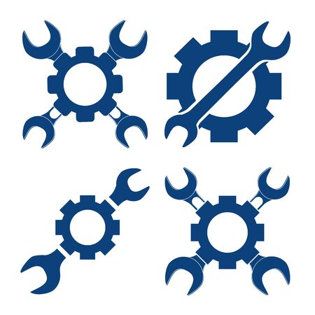 pinion: vector illustration set mechanical with cross wrench and pinion for web, logo, design Stock Photo