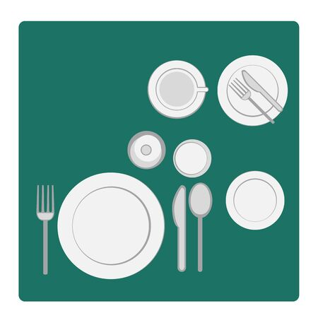dinnerware: vector illustration tableware serving with dinnerware, plate and glass in flat silhouettes Stock Photo