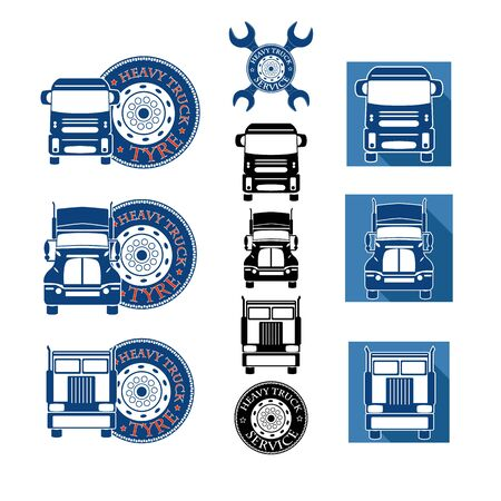inter: vector illustration set heavy truck automobile service for trade or tire business
