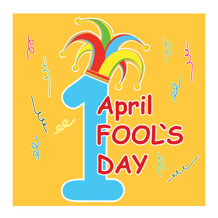 merriment: vector silhouette clowns hat on one digit with type fools day