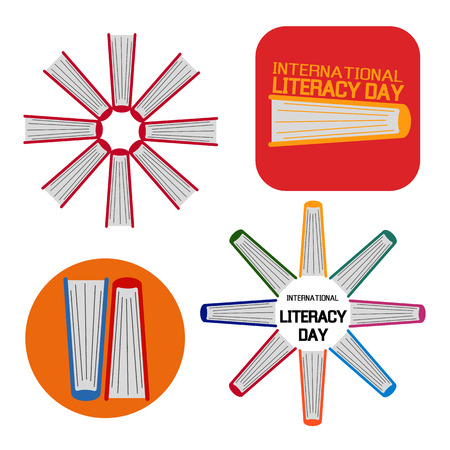 literacy: Vector illustration set of a book for International Literacy Day