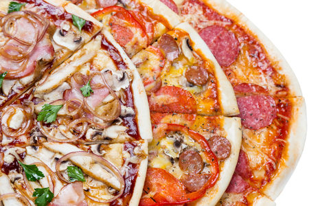 combo: combo with three different slices of pizzas closeup from top. for advertisement or web design, promo, special price