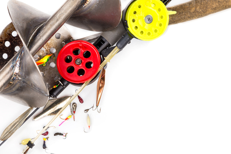 closeup ice fishing tackles and equipment on white background Stock Photo