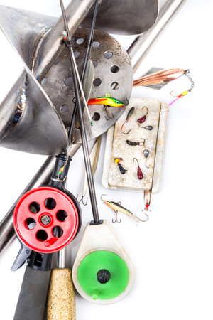 tackles: closeup ice fishing tackles and equipment on white background Stock Photo