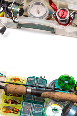 wobler: Different fishing tackles composition in frame look from top for banner, flyer, brochure, advertising. Concept design for freshwater outdoor active business company.