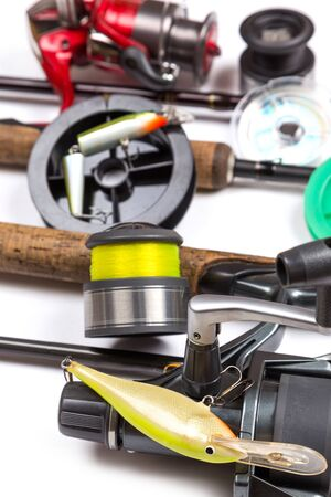 wobler: different fishing tackles and baits with rods and reels. Concept design for freshwater outdoor active business company.