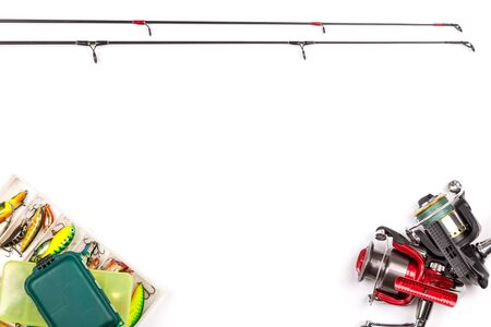 frame from different fishing tackles. Concept design for freshwater outdoor active business company.