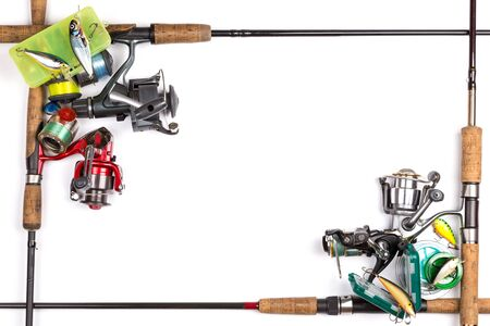 wobler: frame from different fishing tackles. Concept design for freshwater outdoor active business company.