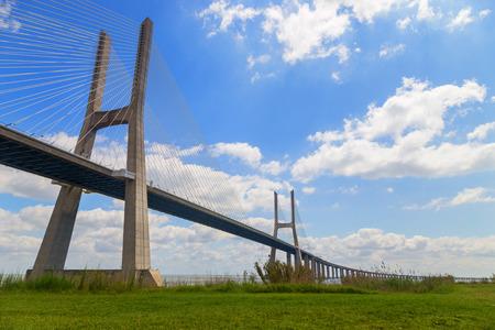 brige: bridge the Vasco da Gama on river Tejo in european city Lisboa Stock Photo